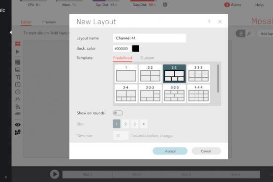 C21 Live Mosaic Control layout
